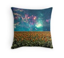 Sunflowers And Space Throw Pillow