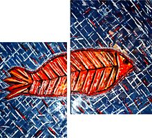 Fish diptych (renamed 'Fish Tych' by Shoaib) by Naomi  O'Connor