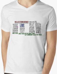 Dr Who Stonehenge Speech typography Mens V-Neck T-Shirt