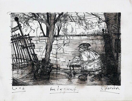 Migrant in Collingwood laneway      2darts,  by Ian Farnbach