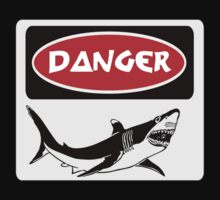 DANGER SHARK, FUNNY FAKE SAFETY SIGN Kids Clothes