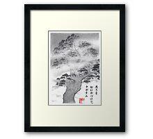 Pine in the mist haiku Framed Print