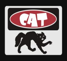 CAT SILHOUETTE, FUNNY DANGER STYLE FAKE SAFETY SIGN Kids Tee