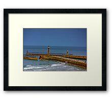 Whitby Harbour Lights Framed Print