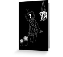 Tv head girl with plants Greeting Card
