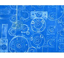 Techno 5 Monotype Print in Blue Photographic Print