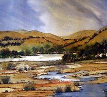 Australian Watercolor Landscape by Angela Gannicott
