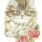Cat and Roses by morgansartworld
