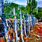Barbed-Wire Fence Landscape by John Corney