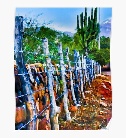 Barbed-Wire Fence Landscape Poster