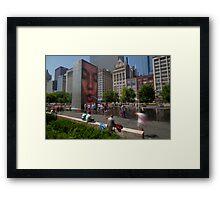 Summer fun in Crown Fountain, Chicago Framed Print