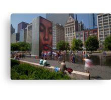 Summer fun in Crown Fountain, Chicago Canvas Print