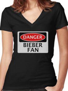 DANGER BIEBER FAN FAKE FUNNY SAFETY SIGN SIGNAGE Women's Fitted V-Neck T-Shirt