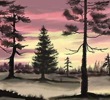 Evergreens at sunset after Bob Ross by MayWebb