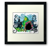 PSYCHEDELIC GREAT WHITE SHARK Framed Print