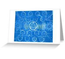 Techno 7 Monotype Print in Blue Greeting Card