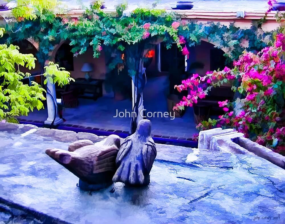 Clay Birds Above Courtyard by John Corney