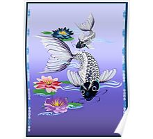 Two White Koi-Blue Lily  Poster