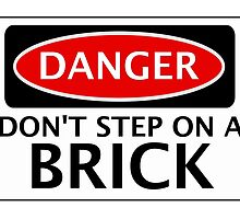 DANGER DON'T STEP ON A BRICK FAKE FUNNY SAFETY SIGN SIGNAGE by DangerSigns
