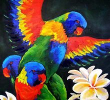 Rainbow Lorikeets by Carla Whelan