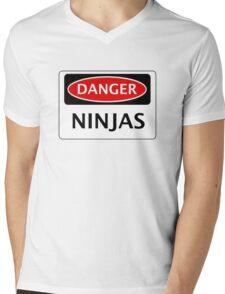 DANGER NINJAS FAKE FUNNY SAFETY SIGN SIGNAGE Mens V-Neck T-Shirt