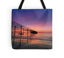 Totland Pier Caught In The Afterglow Tote Bag