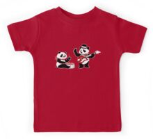 White Stripe Pandas Kids Tee