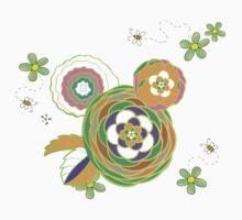 Green and orange flowers with bees Kids Clothes
