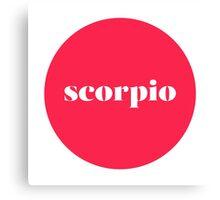 Scorpio Horoscope Minimalist Typography  Canvas Print
