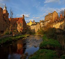 As the sun begins to set over Dean Village, Edinburgh by Miles Gray