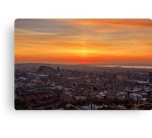 Sun Pillar over the Forth Bridges, Edinburgh Sunset Canvas Print