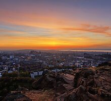 Dusk from the Crags, Edinburgh by Miles Gray