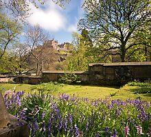 LE: Edinburgh Castle from St John's Church Gardens by Miles Gray