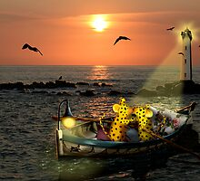 Romantic boating of two micepard in love  by Monika Juengling