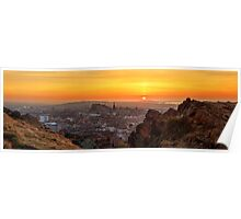 Panoramic Sunset from the Crags, Edinburgh Poster