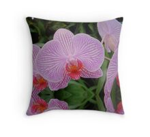 Pink striped Orchid flooded Throw Pillow