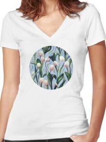 Waiting on the Blooming - a Tulip Pattern Women's Fitted V-Neck T-Shirt