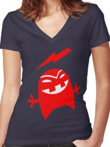 """ Bolt "" red Women's Fitted V-Neck T-Shirt"