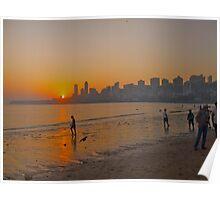 Sun set over Chowpatty Beach, Mumbai, India Poster