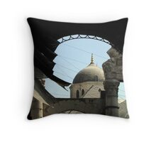Web thrown accross layers of time Throw Pillow