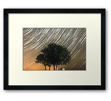 Tress and star trails Framed Print
