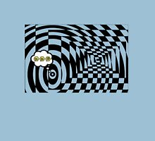 comic cloud of black and white chess board tunnel op art  Unisex T-Shirt