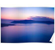 Santorini caldera at sunset Poster