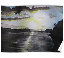 Sunset over the river Bann Poster