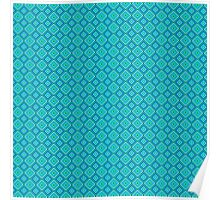 Abstract vintage geometric turquoise  pattern seamless Poster