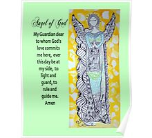 Zentangle Angel Greeting Card Poster