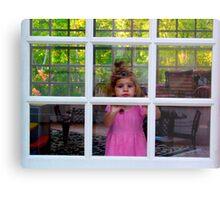 Olivia Through The Window Metal Print