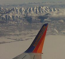 Flying over snowy mountians by David Shaw