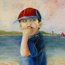 Little Boy on Beach by Sandra  Sengstock-Miller