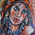 Blue Eyed Gypsy Woman by Anthea  Slade